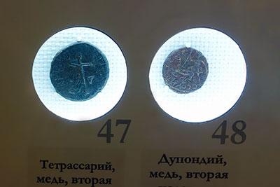 Медные монеты Херсонеса богиня Дева лук копье лань музей Херсонеса Севастополь